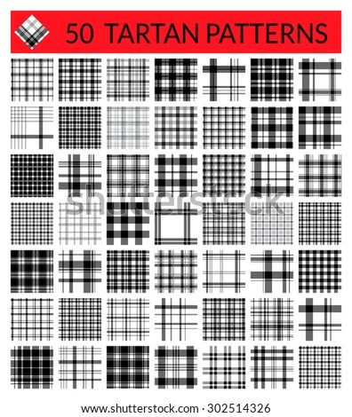 50 tartan patterns set. Scottish traditional fabric seamless vector. White on black background. Suitable for children, decoration paper, home, design, concept, clothing, handicraft & scrap booking. - stock vector