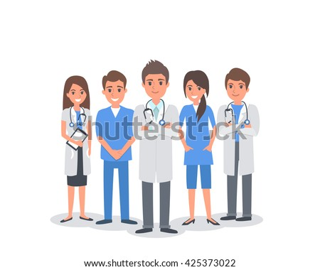 Team of doctors and other hospital workers stand together. Vector people illustration isolated on white background. - stock vector