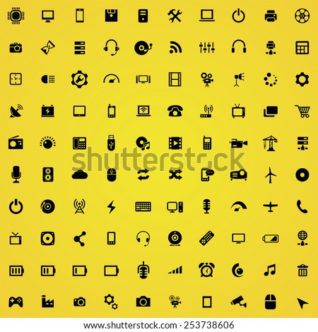 100 technology icons, black on yellow background