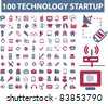 100 technology icons, signs, vector illustrations set - stock vector