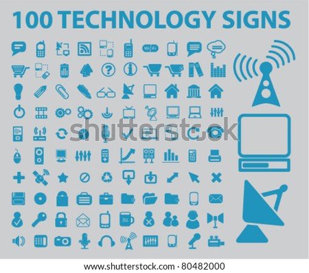 100 technology icons, vector