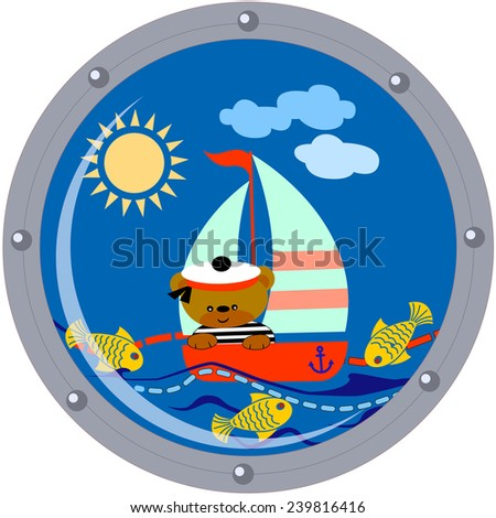 Teddy bear seaman floats on a sailing vessel on blue sea in porthole - stock vector