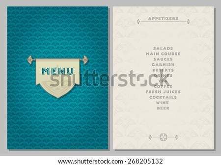 template for the menu - luxury dark turquoise and light beige color backgrounds - stock vector