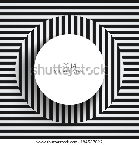 Text box design with abstract black and white line pattern background eps 10 vector illustration - stock vector