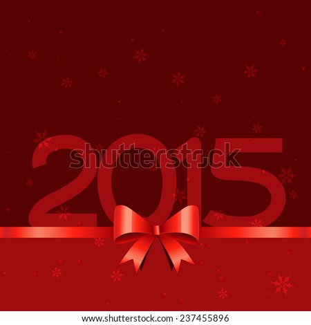 2015 text with red gift ribbon style design