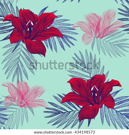 texture of paradise , exotic flowers . bright juicy pattern . vector - stock vector
