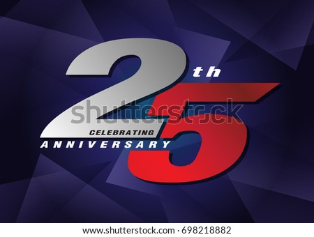 Th anniversary celebrating d logo red and blue color on blue