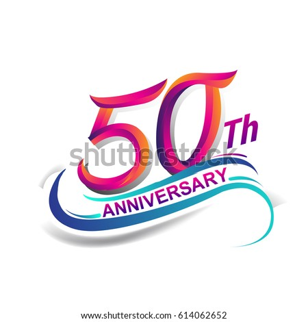 50th anniversary celebration logotype blue red stock vector rh shutterstock com 50th anniversary logo template 50th anniversary logo vector