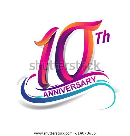 10th anniversary celebration logotype blue red stock vector hd rh shutterstock com birthday logos free birthday logos free