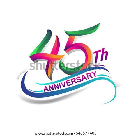 45th anniversary celebration logotype green red stock vector rh shutterstock com birthday logo for bathing suits birthday logo images