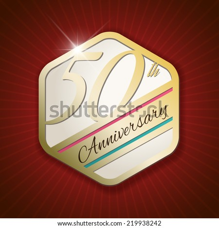 50th Anniversary - Classy and Modern golden emblem / Seal / Badge - vector illustration on read rays background - stock vector