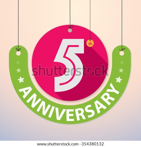 5th Anniversary - Colorful Badge, Paper cut-out - stock vector
