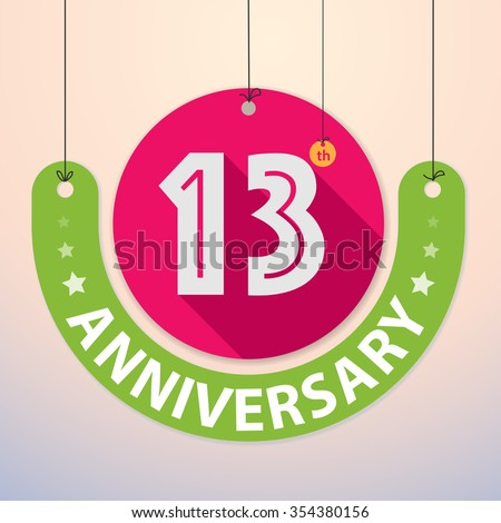 13th Anniversary - Colorful Badge, Paper cut-out - stock vector