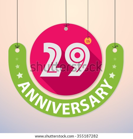 29th Anniversary - Colorful Badge, Paper cut-out - stock vector