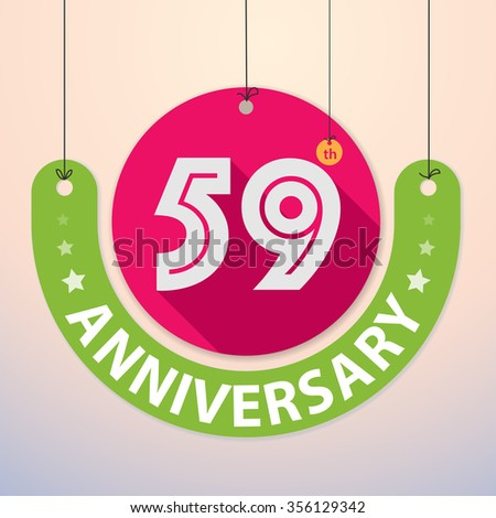 59th Anniversary - Colorful Badge, Paper cut-out - stock vector