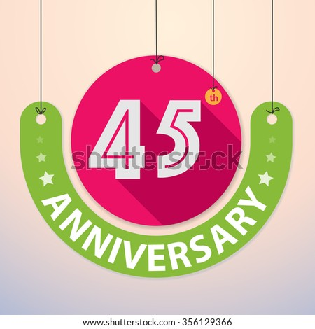 45th Anniversary - Colorful Badge, Paper cut-out - stock vector