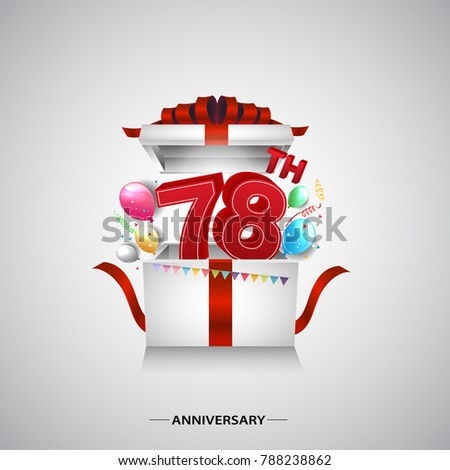 78th anniversary design with red number inside gift box isolated on white background for celebration event