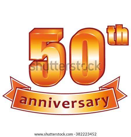 50th anniversary. Golden vector label. - stock vector