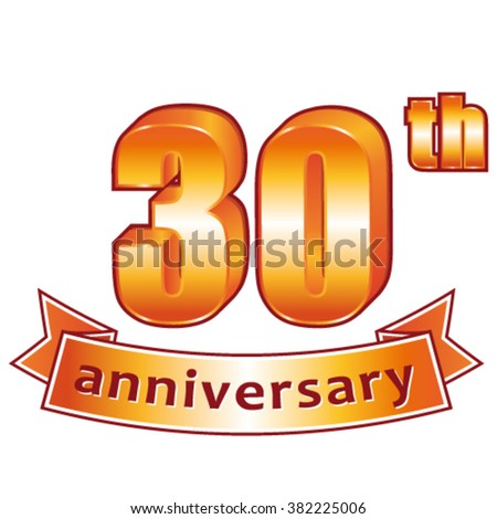 30th anniversary. Golden vector label. - stock vector
