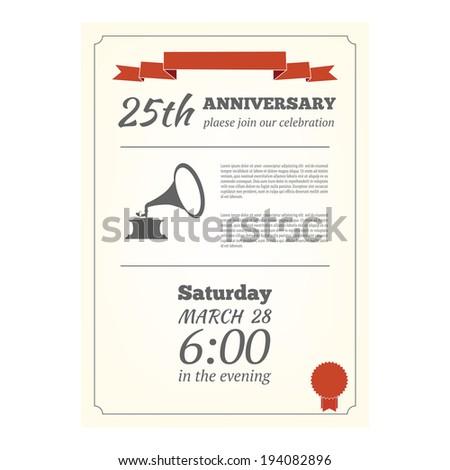 25th anniversary invitation card - stock vector