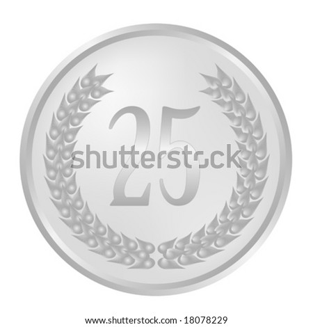 25th Anniversary laurel wreath - stock vector