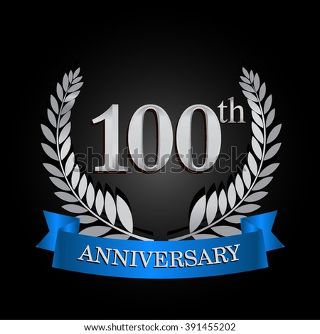 100th anniversary logo with blue ribbon. 100 years anniversary signs illustration. Silver anniversary wreath ribbon logo.