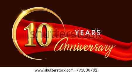 Th anniversary logotype golden ring isolated stock vector