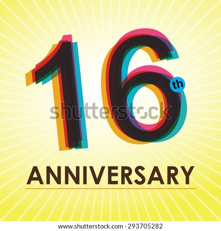 16th Anniversary poster / template design in retro style - Vector Background - stock vector