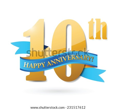 10th anniversary ribbon sign illustration design over a white background - stock vector