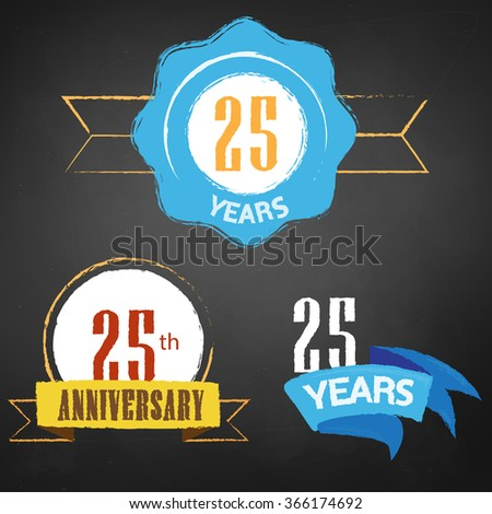 25th Anniversary / 25 years colorful chalk emblem vector with 3 different options - stock vector