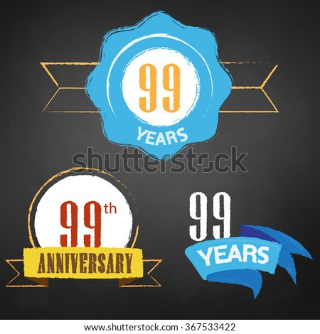 99th Anniversary/ 99 years colorful chalk emblem vector with 3 different options