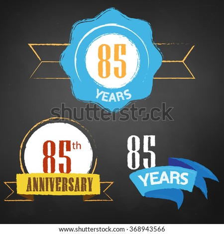 85th Anniversary/ 85 years colorful chalk emblem vector with 3 different options