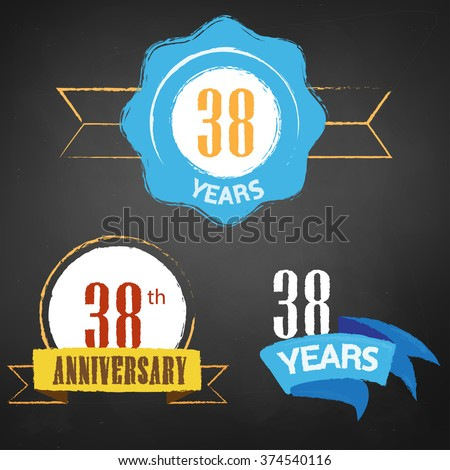 38th Anniversary/  years colorful chalk emblem vector with 3 different options