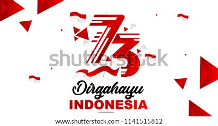 73th August 2018 Logo Special happy independence Indonesia day red and white bacground vector illustration Design 1