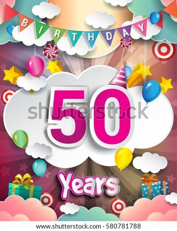 50th Birthday Celebration Greeting Card Design Stock Vector Royalty