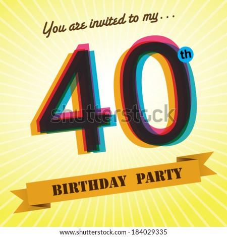 40th Birthday Party Invite Template Design Stock Vector 184029335