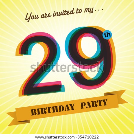 29th Birthday party invite / template design in retro style - Vector Background - stock vector