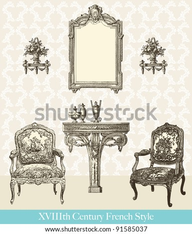 """18th century style interior - Vintage engraved illustration - """"Le Mobilier"""" Ed.Edouard Rouveyre  in 1915 France - stock vector"""