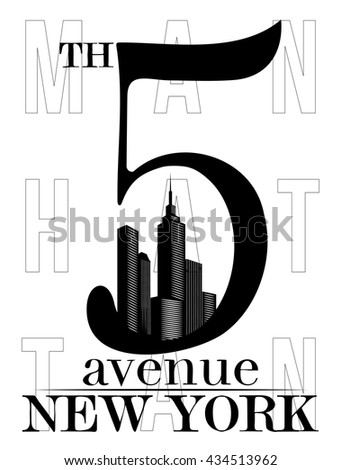 5th Fifth Avenue New York city silhouette T-shirt Print - stock vector