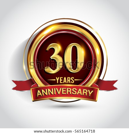 30th Golden Anniversary Logo Thirty Years Stock Photo Photo Vector
