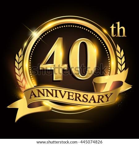 40th Golden Anniversary Logo 40 Years Stock Vector ...