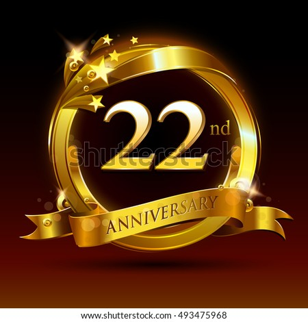 22 th golden anniversary logo 22 years stock vector royalty free