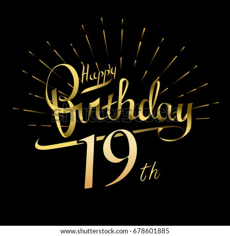 19th Happy Birthday Logo Beautiful Greeting Vector 678601885 – Happy 19th Birthday Cards