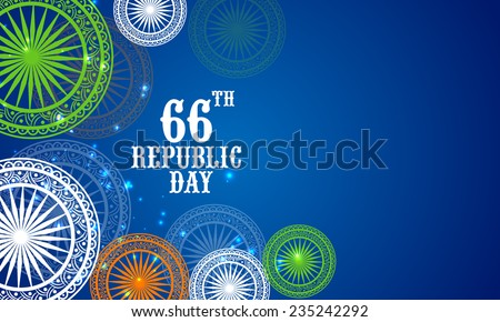 66th Indian Republic Day celebrations with floral decorated Ashoka Wheels in national flag colors on blue background. - stock vector