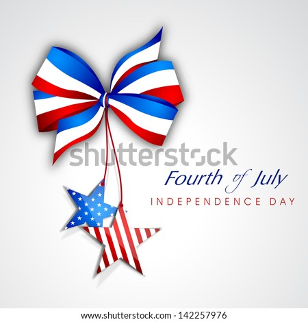 4th July, American Independence Day background with ribbon and stars. - stock vector