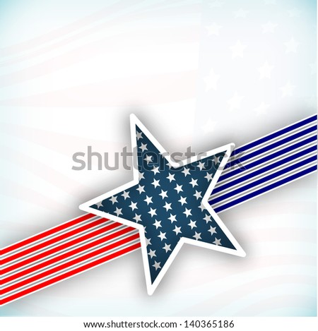 4th July, American Independence Day background with star in national flag colors on grey background. - stock vector