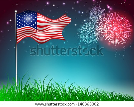 4th July, American Independence Day celebration background with waving flag and fire crackers. - stock vector