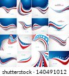 4th july american independence day fantastic flag 16 wave set collection vector - stock vector