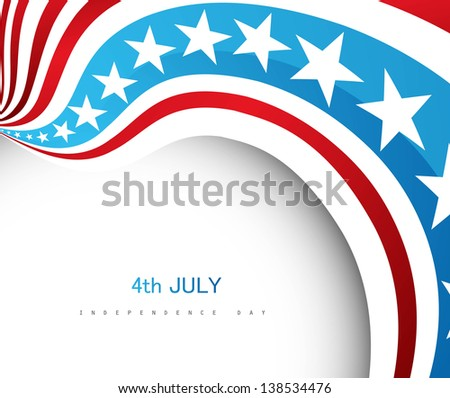 4th july american independence day flag wave vector - stock vector