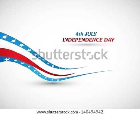 4th july american independence day flag wave vector illustration - stock vector